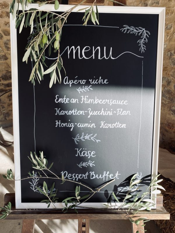 menu repas mariage traiteur catering south of france décoration bohème wedding